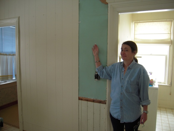 A happy moment, though why I had to look so goofy about it is beyond me: this photo was taken last February, when the turquoise-painted plaster walls in the kitchen of my Manse childhood had been revealed for the first time in more than 40 years. And the revelation was: turquoise.