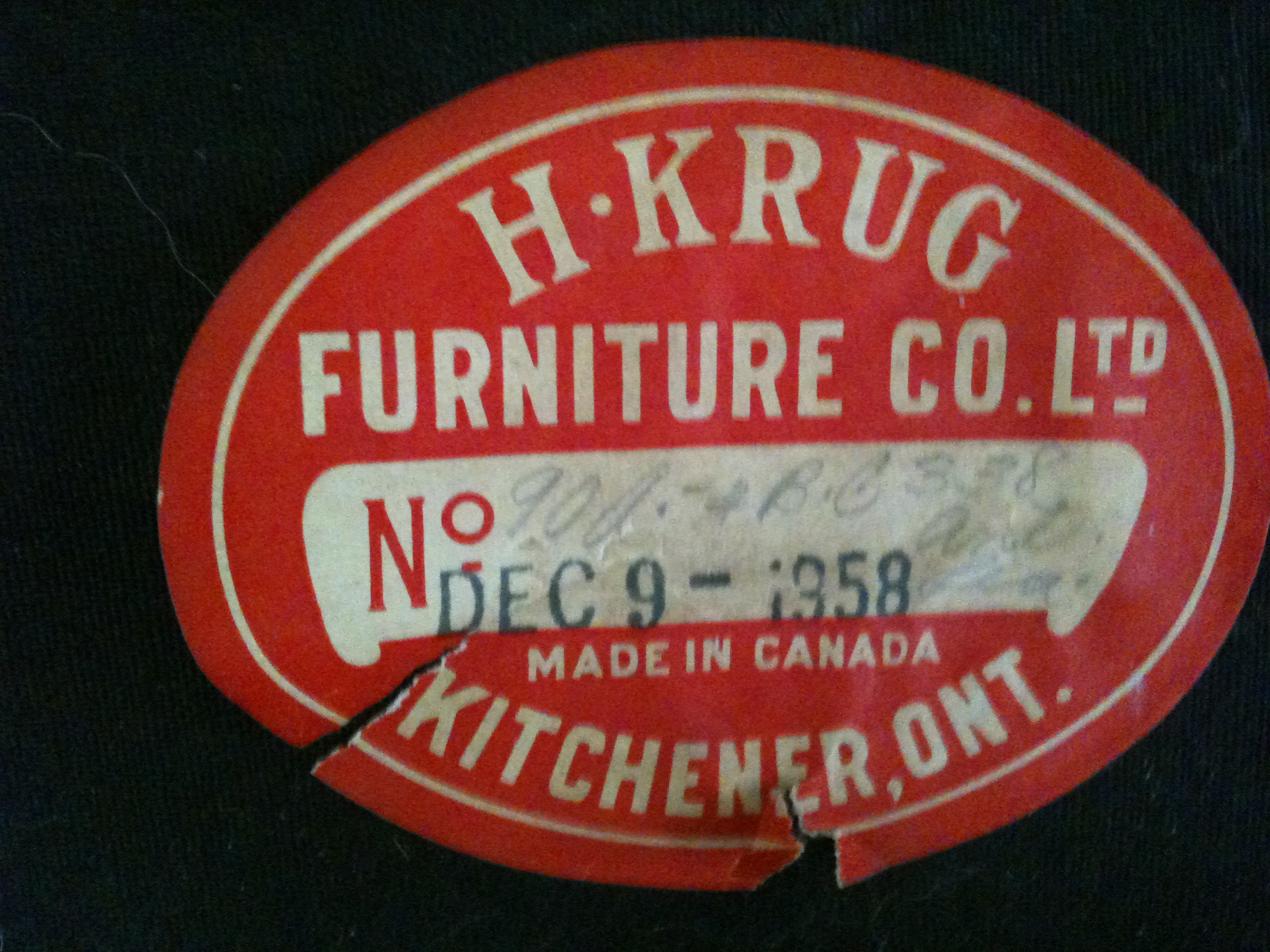 Furniture In Kitchener H Krug Furniture Company Meanwhile At The Manse