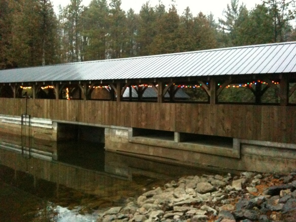 The covered bridge leading into O'Hara's, decked out for the season in Christmas lights.