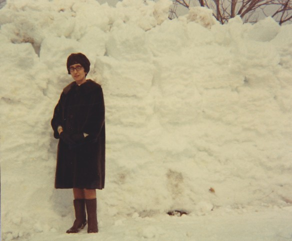 My mother, Lorna, in front of a snowbank that as I recall was in front of the Manse, in February 1971. Back when winter meant serious amounts of snow.