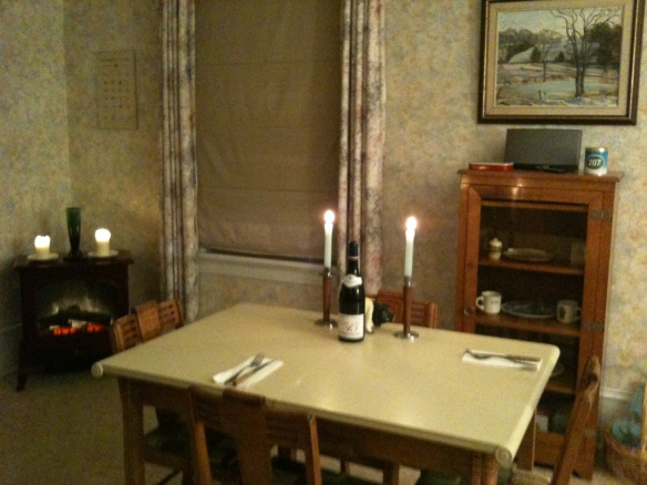 The Manse's dining room set up for a late dinner – which is what we hope to be enjoying, and where we hope to be enjoying it, just about exactly 24 hours from the moment I'm writing this.