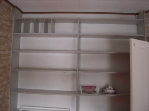 The study early in our tenure at the Manse, with grey and empty bookshelves. It looks sad, doesn't it?