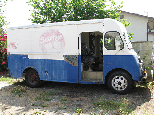 I searched Google Images in vain for a bread truck just like the one that our bread man, Bill Willemsen, used to drive. This one, dilapidated though it is (it's being restored, however), seemed to come the closest, and it's from the 1960s, the right era.