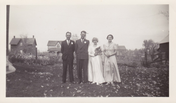 Oct. 18, 1939: Newly married Allan and Isabella Sager with their attendants, Jennie Sager and Earl (or is it Gordon?) Sager. The photo is taken in the front yard of the Manse; you are looking north. (Photo courtesy of Barbara Martin)