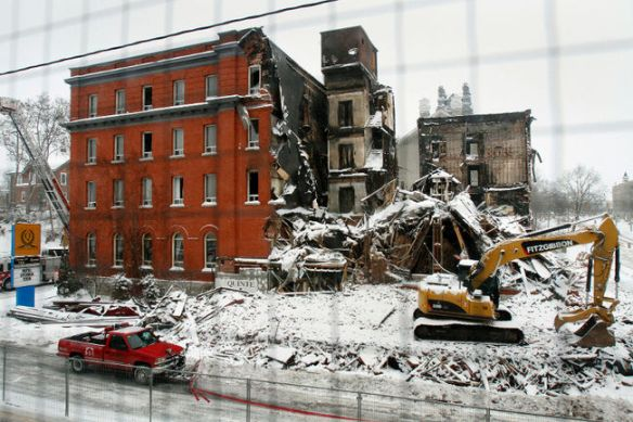 The sad ruins of the landmark Quinte Hotel in downtown Belleville, Ont. (Photo from the Belleville Intelligencer)