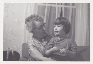 Didi (my grandmother Reta Keay) and five-year-old me at the Manse, December 1965. (Photo by my grandfather, J.A.S. Keay)