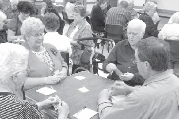 I found this photo of an old-style euchre party in the Wellington (Ont.) Advertiser, and it's kind of the classic euchre-party photo, really. (I like that it's in early-'60s black and white too, even though it was taken last October.) These people haven't made it to the lunch part yet, but given that it's being held in rural Ontario, there is no doubt that they will.