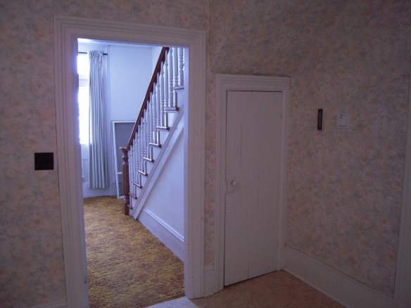 "The closed door that you see here leads to the ""Harry Potter closet"" underneath the front stairway. It is the only downstairs closet."