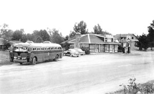See? Even way back in the day the bus stopped the the Log Cabin restaurant, here as it originally appeared. This photo supplied by the wonderful Tweed and Area Heritage Centre (I've written about it here and here) appeared in the fall 2011 issue of Country Roads magazine.