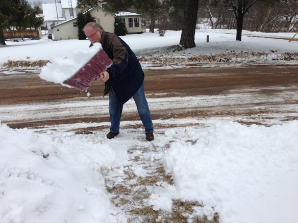 Raymond shovelling the Manse driveway this past weekend. Somehow I think he would find it more entertaining to clear snow if a snowblower were in the mix.