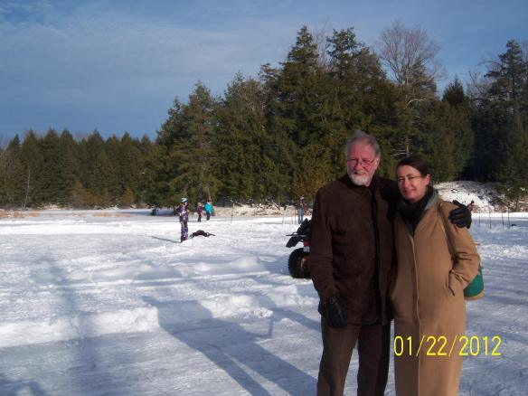 Raymond and me at the January 2012 community skating party at the millpond in Queensborough in January 2012, a few days before we became the official owners of the Manse. A lot has happened since then!(Photo by Elaine Kapusta)