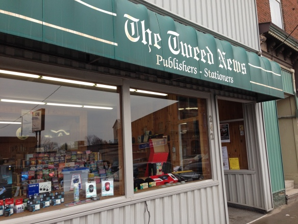 The offices of the Tweed News on the main street of Tweed, Ont. The building serves not only as the newspaper offices but as a first-rate stationery store – the equivalent for me of a candy store.