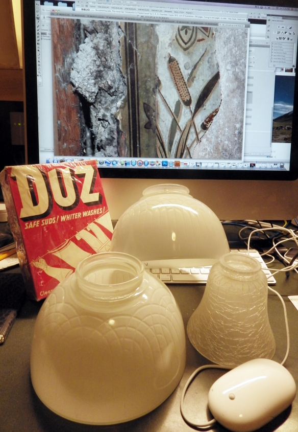 A Manse-warming gift from Gordon: a pristine box of Duz detergent, and three beautiful cream-coloured glass lightshades. How nice is that? (Photo by Gordon Beck)