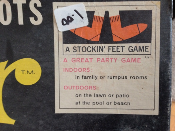 "Our vintage Twister game advertises itself as ""A GREAT PART GAME INDOORS in family or rumpus rooms."" Rumpus rooms! Does that take you back?"