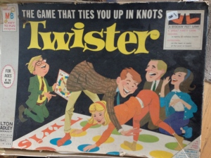 "Our period version of Twister, ""the game that ties you up in knots."""