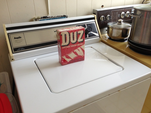 The Duz is on the washer, and the washer is in the … kitchen. Why?