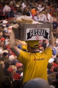 Watching the hard-working vendors who sell Fenway Franks in the stands is almost as much fun as watching the ballgame. (Photo from redsoxhome.com)