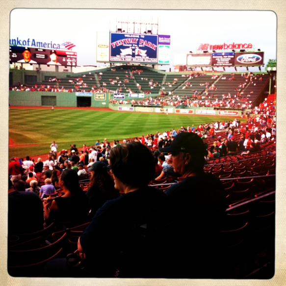 The view from our seats at Boston's Fenway Park before the start of a Red Sox game in August 2011. Do you know they actually sing Take Me Out to the Ball Game in the seventh-inning stretch? Magical.