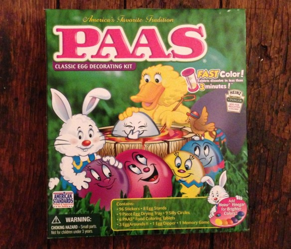 Remember these? This is a modern-day version (from a few years back, when I found it in an American supermarket) of the PAAS egg-decorating kits that I think every household had back when I was young.