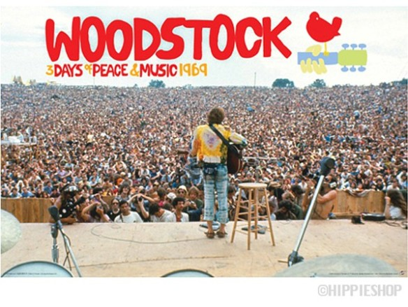 Yes, that's John Sebastian performing in front of all those golden stardust folks, half a million strong, at Woodstock in 1969. For those of us of a certain age – and no, I was far too young to be at Woodstock – it's got to tug at your heartstrings. (Photo from hippieshop.com, where you can buy this poster.)