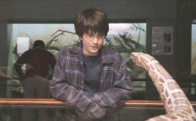 Harry Potter has a little chat with a caged snake at the zoo. Shortly after this scene, Harry inadvertently freed the snake who'd been bred in captivity. Harry had no fear of snakes; for some people, it's quite a different story.