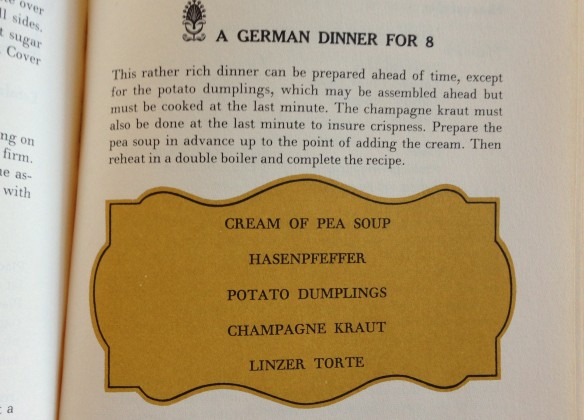 A menu built around Hasenpfeffer, thanks to the renowned James Beard. Hungry?