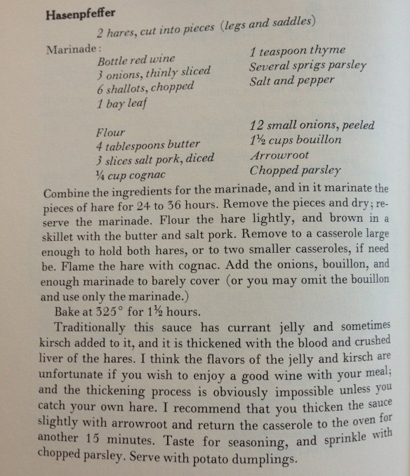 If your mouth is just watering for hare stew, has James Beard got a recipe for you!