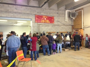 The crowds line up for an excellent pancake breakfast served up by the Madoc Township firefighters in Eldorado.