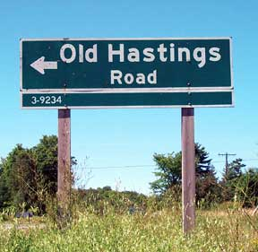 The sign for the Old Hastings Road off much-much-much-more-travelled Highway 62. (Photo from pinecone.on.ca, where you can read an excellent article about the history of the Old Hastings Road)