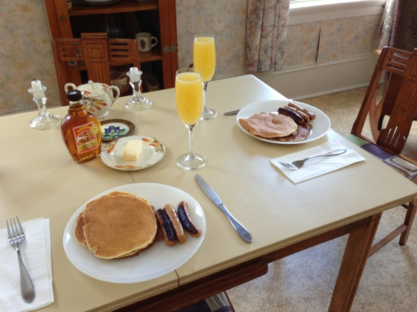 Raymond and I had our own private pancake breakfast at the Manse one recent morning, with syrup made by Cyril and Isabella Shaw of Eldorado. Delicious! But at tomorrow's community pancake breakfast in Queensborough, you'll have lots of good company as well as good eats.