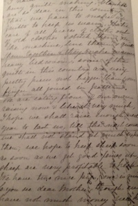 """One of Anna's letters home. Notice how she """"crosses"""" – turns the page 90 degrees and writes crossways on top of what she has already written. Both paper and postage were costly for a family struggling to establish itself in the backwoods, and """"crossing"""" was a common way to economize on both."""