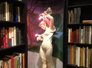 You wouldn't find this in every bookstore: a statue that Gordon and Ewa call Emma Bovary in a corner of From Here to Infinity.