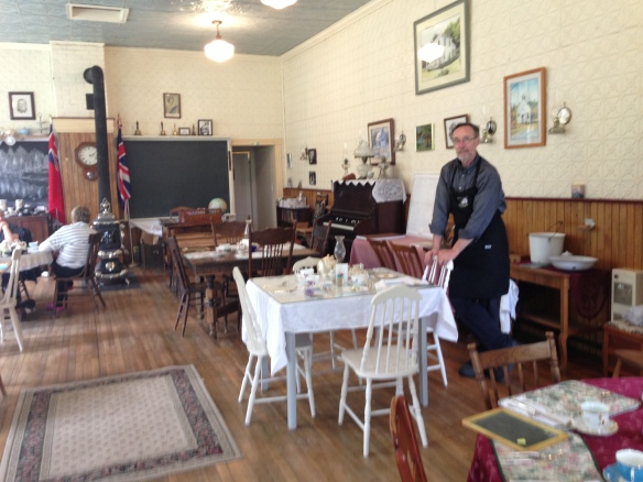 Ernie Pattison at the beautifully restored Old Ormsby Schoolhouse – a wonderful place for lunch or afternoon tea or (on weekends) supper.
