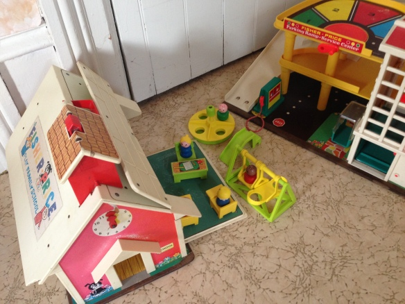 The Fisher-Price School and the Fisher-Price Garage, at the Manse. For a little kid, does it get any better?