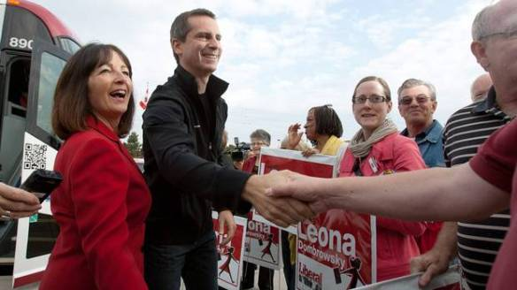 Leona Dombrowsky campaigning with former Liberal premier Dalton McGuinty. (Photo from zeably.com)