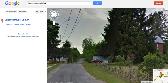 Now anyone on the planet can take a tour through Queensborough – stopping to admire Raymond's red truck, of course – thanks to Google Street View! The Manse is off to the right, and up the road a bit just about the treetops you can see the spire of St. Andrew's United Church.