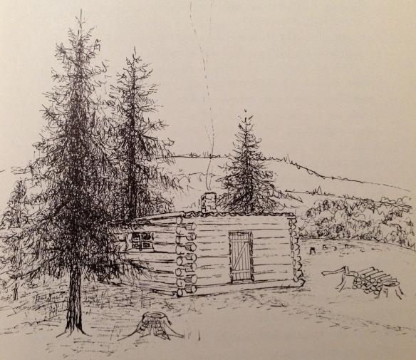"""A drawing of the """"shanty"""" near Coe Hill where Anna and David Leveridge and their seven children lived: """"Our shanty is a strange place, just a one roomed house, made entirely of trunks of trees, 12 ft. by 20, the trees just as they are felled, with the bark on,"""" Anna writes to her mother back in England. """"The floor is lumber, as boards are called here; two little windows, one at each end, and a door in the side facing south. That, dear Mother, is my present home…How different everything is from my past life."""" (Drawing from Your Loving Anna, University of Toronto Press)"""