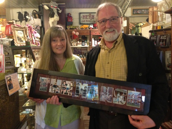 Lillian Oakley Pattison, storekeeper extraordinaire, and Raymond with the gift that Lillian's husband, Gary, had made for us: It's THE MANSE with photos from my very own childhood. Lovely!