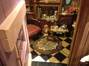 The Mercantile has room after themed room, but this one, the tiniest, is a jewel: the room under the stairs, filled with beautiful little things. Delightful!