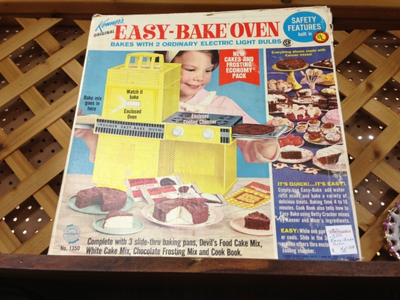 It's an Easy-Bake Oven, people! From the early 1960s! And when I opened the box, I discovered it was – turquoise! And believe it or not – I still can't quite believe it myself – I actually restrained myself from buying it.