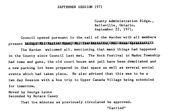 Hastings County Council minutes, September 1971, including mention of the Rock Acres Peace Festival, Queensborough