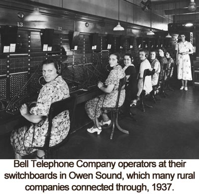 telephone operators in Owen Sound, 1937