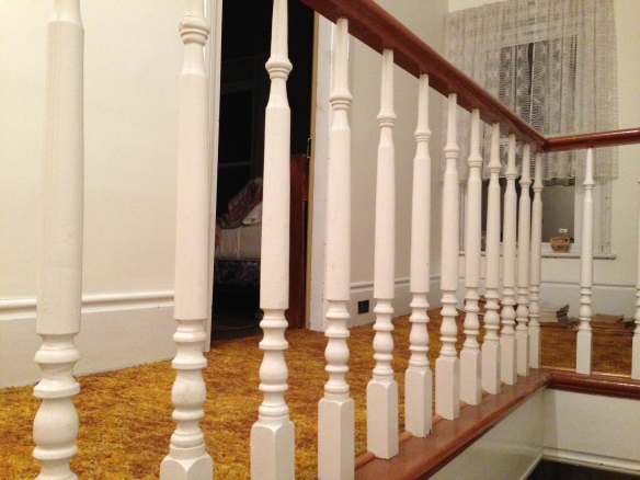 Manse front staircase, upstairs banister
