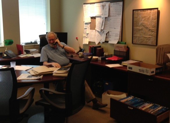 Raymond in his Gazette office