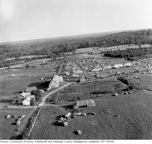 Rock Acres Peace Festival, Queensborough 1971, aerial shot 2