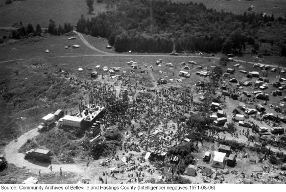 Rock Acres Peace Festival, Queensborough 1971, aerial shot 3