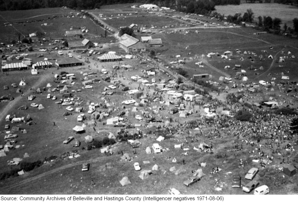 Rock Acres Peace Festival, Queensborough 1971, aerial shot 1