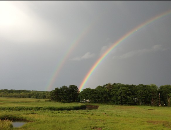 double rainbow at Goose Rocks Beach