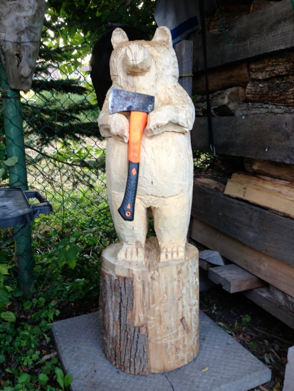 wooden bear carved by chainsaw