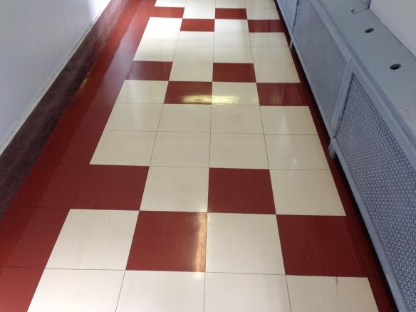 red an white floor tiles